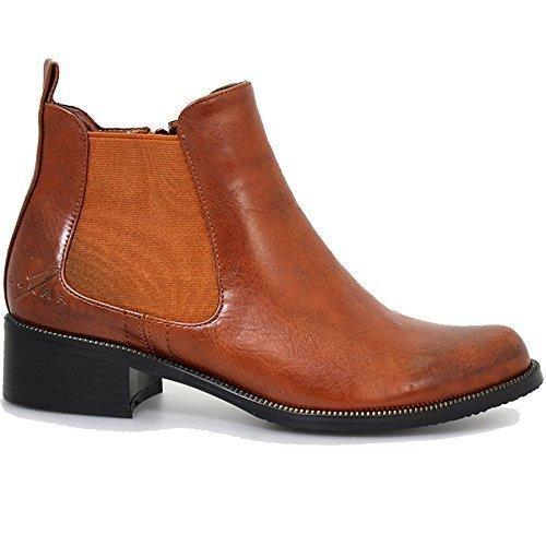 Bowey Boots Damen Chelsea Blockabsatz Panel Ankle GLC464 Toe BOUTIQUE® Point FANTASIA Beige Stretch HwqE11