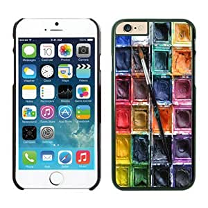 Iphone 6 Case 4.7 Inches, Amazing Art Black Cell Phone Protective Cover Case for Apple Iphone 6 Watercolor Sets With Brushes