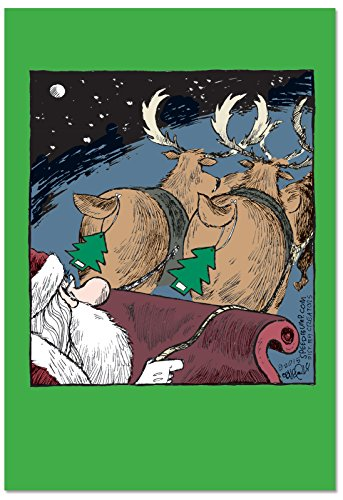 (12 'Reindeer Fresheners' Boxed Christmas Cards with Envelopes 4.63 x 6.75 inch, Funny Stinky Reindeer Christmas Cards, Silly Santa Holiday Notes, Humorous Christmas Cards B2533XSG)