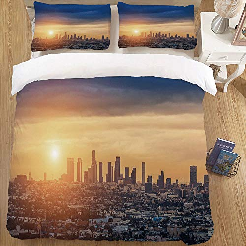 Bedding Set with Pillow Shams,Full Size,3pc with 2 Pillow Shams City Sunrise at Los Angeles Urban Architecture Tranquil Scenery Majestic Sky Navy Blue Apricot Ivory