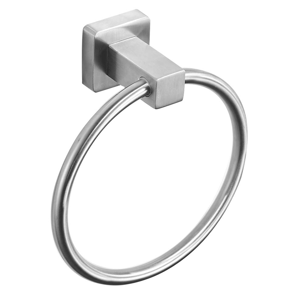 BESy Self Adhesive Bathroom Towel Ring SUS304 Stainless Steel Towel Holder, Drill Free with Glue or Wall Mounted with Screws, Square Pedestal, Brushed Nickel Finish