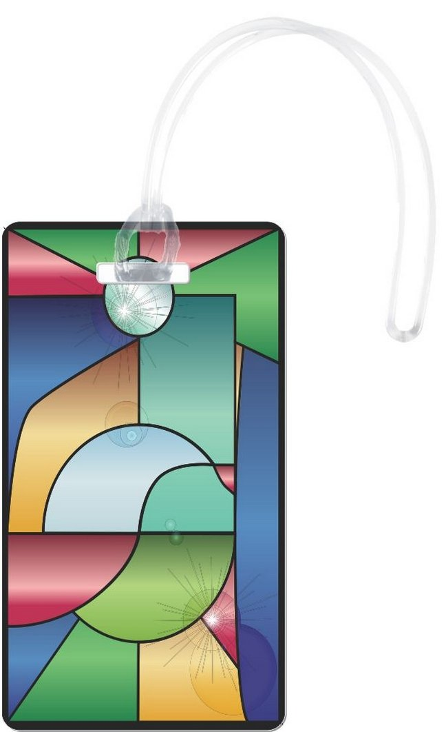 Rikki Knight Stained Glass Window With Reflections Flexi Luggage Tags, White