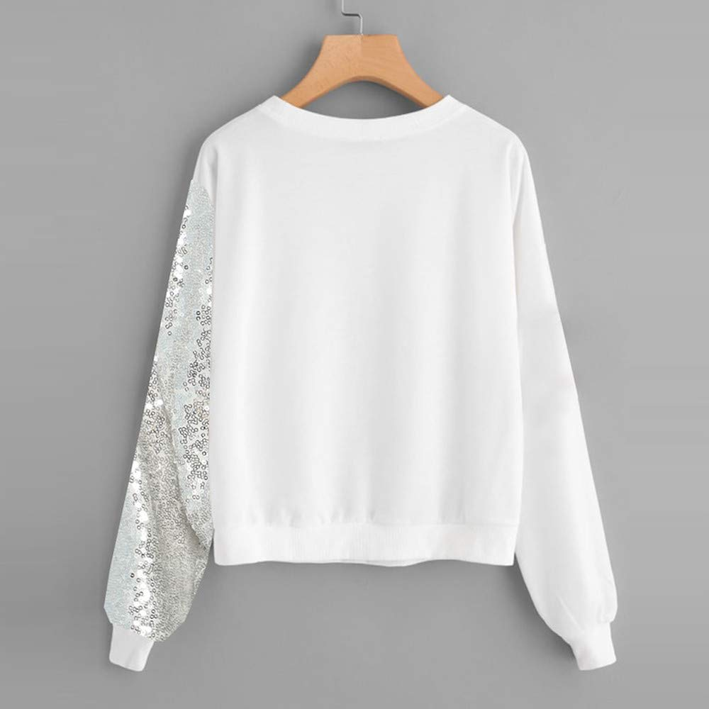 Vickyleb Women Shirts Blings Sequins Long Sleeve Pullover Color Block O-Neck Patchwork Tops Blouse Sweatshirt White by Vickyleb Womens Tops (Image #2)