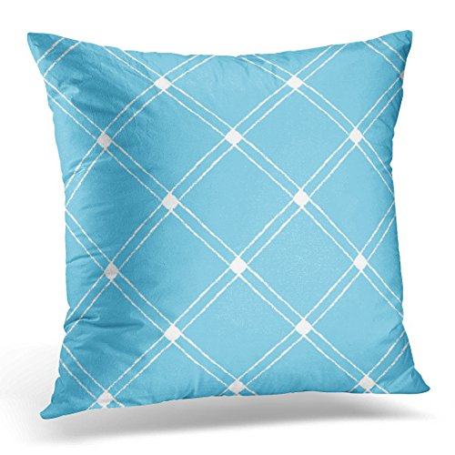 Duplins Throw Pillow Case Square Home Decor Pillowcase Abstract Crossing Diagonals Checked Plaid Brush Drawn White Stripes on Blue Cross Decorative Pillow Cover 20x20 (American Crossing Home Office Desk)