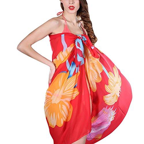 Vobaga Pareo Para Mujer Estampado Floral Bañador Túnica Playa Verano Beach Bikini Swimwear Cover-up Y71