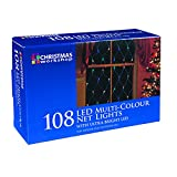 The Christmas Workshop 108 LED Static Net Lights, Multi-Coloure