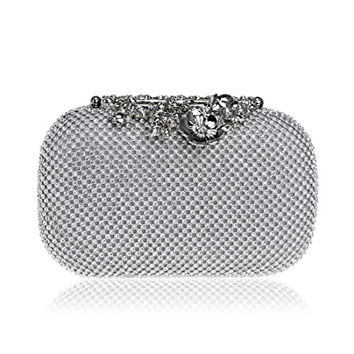 Bag Luxury Handbag Color Wallet Dinner Bag BLACK Diamond European bag Clutch American evening And Fly53 Banquet Bag Evening Evening FLY Silver Ladies IqaH7