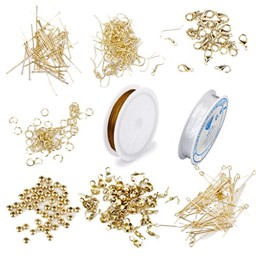 SM SunniMix Jewelry Making Findings Supplies Kit with Open Jump Rings, Lobster Clasps, Beads, Eye Pins, Head Pins, Earing Hooks and Crimp End Tips, Beading - Hook Eye Crimp And