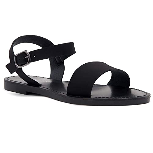 ecc0996ed Herstyle Women's Keetton Open Toes One Band Ankle Strap Flat Sandals 1896  BlackNU 5.0