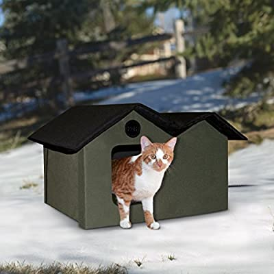 """K&H Manufacturing 20W Outdoor Heated Extra-Wide Kitty House, 26.5"""" x 15.5"""" x 21.5"""", Olive/Black"""