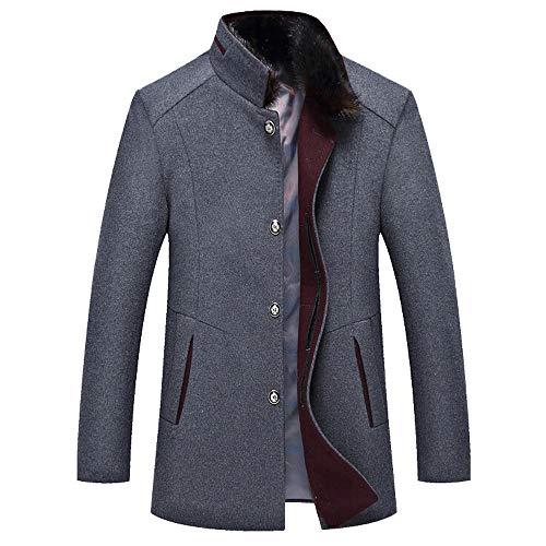 YOcheerful Men's Business Jacket Classic Wool Trench Coat Slim Overcoat Office Formal Work wear Outerwear