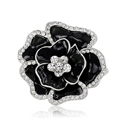 New Year Gift Vintage Rhinestone Bling Imitation Crystal Rose Flower Brooch Pin (Black)