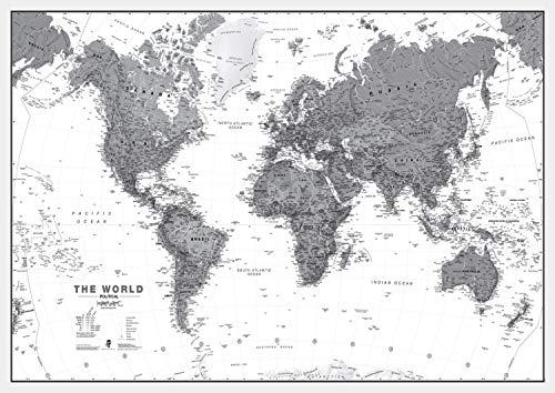 Maps International Large Political World Wall Map - Black & White - Paper - 48 x ()