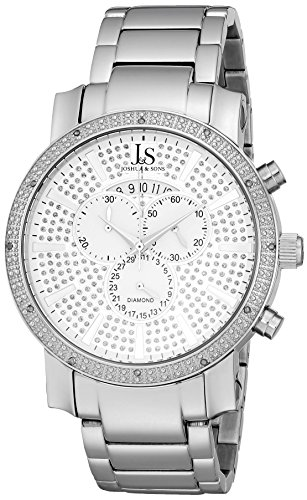 Joshua & Sons Men's JS56SS Silver Multifunction Swiss Quartz Watch With Sparkle Pave Silver Dial and Silver Bracelet