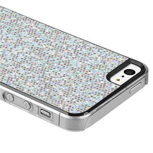 Silver Sparkling Glitter Bling Hard Case Cover for Iphone 5 5s