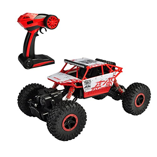 Hapinic RC Car 4WD 2.4Ghz 1/18 Crawlers Off Road Vehicle Toy Remote Control Car Red Color with Two Battery