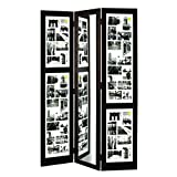 nexxt Preston Floor Standing Triple Panel Photo Screen with Mirror, Matted for 42-4 by 6-Inch and 2-4 by 4-Inch Opening, Espresso
