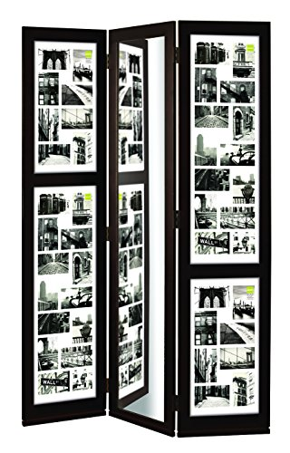 kieragrace Preston Series Floor Standing Triple Panel Photo Screen with Mirror, Matted for 42 - 4 by 6-Inch and 2 - 4 by 4-Inch Opening, Espresso