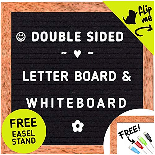 Letter Board Whiteboard Double Sided - 2 in 1 Felt Letter Board with Stand - Felt Boards with Letters - 10x10