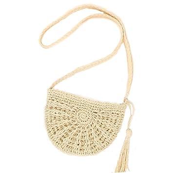 WDOIT Strohtaschen Damen Handtaschen Sommer Strohsack Crossbody Tasche Retro Schulterbeutel Freizeit Geflochten Strandtasche