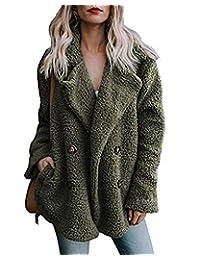 AUDATE Women's Faux Fur Jacket Fuzzy Lapel Fleece Outerwear with Pockets S-2XL