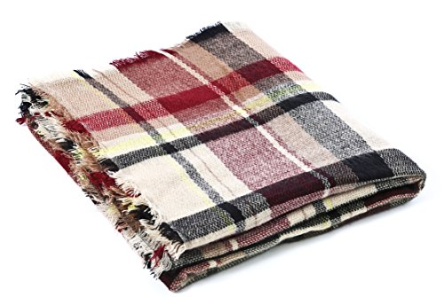 Trendy Women's Cozy Warm Winter Fall Blanket Scarf Stylish Soft Chunky Checked Giant Scarves Shawl Cape (One Size, Pink Scarf) by American Trends (Image #6)
