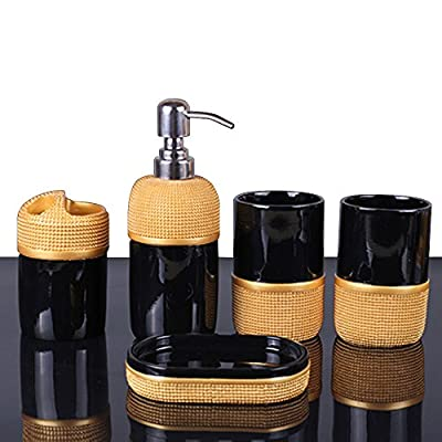 LUANT 5- Piece Bathroom Accessories Set- Includes Decorative Soap Dispenser/Soap Dish/2 Tumbler/Toothbrush Holder (Black and Gold) - Contemporary deluxe ceramic 5 piece bathroom accessory set includes 1 round soap dish, 1 lotion/soap pump dispenser, 1 toothbrush holder , and 2 tumbler. SOPHISTICATED FINISH; the decorations create the illusion of a surface that's rough to the touch but in fact, luxuriously smooth - each piece is laminated for moisture resistance, and is a complete joy to admire and use, owing to the sleek finish. Perfect accessories set for master bath, guest bath or kids bath. Also suitable for commercial use. - bathroom-accessory-sets, bathroom-accessories, bathroom - 51Wv6fSRqdL. SS400  -