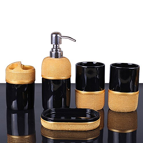 51Wv6fSRqdL - LUANT 5- Piece Bathroom Accessories Set- Includes Decorative Soap Dispenser/Soap Dish/2 Tumbler/Toothbrush Holder (Black and Gold)