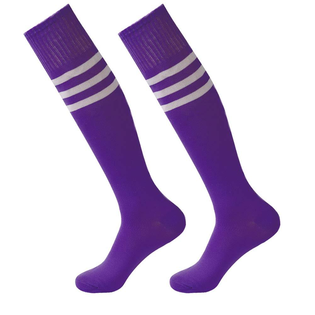 Soccer Socks,Fasoar Unisex Team Sports Football Long Tube Socks 2 Pairs Purple White Stripe by Fasoar