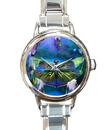 Coolstuffs Dragonfly Flag Sliver Quartz Analog Italian Charm Watch Fashion Casual Watches for Women