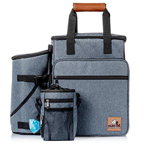 Cleo Co. Dog Travel Bag – Backpack Travel Kit for Pet Gear Includes Collapsible Food and Water Bowls, Flying Disk and Treat Pouch – Best for Organizing Dog Supplies for Easy Travel