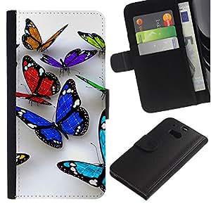 All Phone Most Case / Oferta Especial Cáscara Funda de cuero Monedero Cubierta de proteccion Caso / Wallet Case for HTC One M8 // Butterfly 3D Nature White Clean Spring