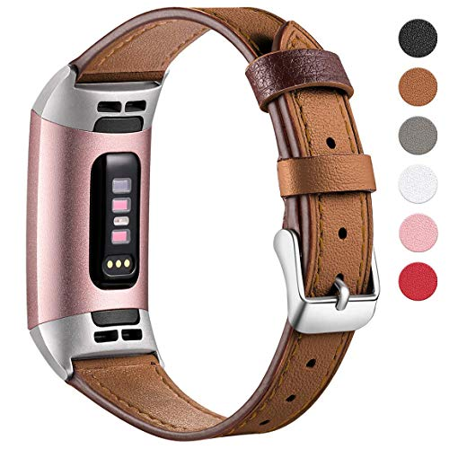 Maledan Bands Compatible with Fitbit Charge 3, Small, Brown