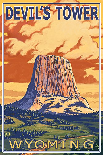 - Devil's Tower, Wyoming (9x12 Art Print, Wall Decor Travel Poster)