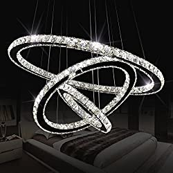 "Sefinn Four 16288 (11.8"" + 19.7"" + 27.6"") LED Ceiling Fixtures Flush Mount Pendant Lights Crystal Chandeliers 3 Rings"