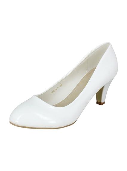 2e55c4ece74fa8 Escarpins Petit Talon Blanc Femme Mariage ou cérémonie: Amazon.fr:  Chaussures et Sacs