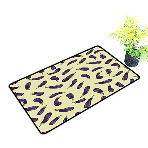 (Zmstroy Door mat Eggplant Eggplants and Light Yellow Background Fresh Delicious Meals Lunch Dinner W20 xL31 Country Home Decor Light Yellow Purple)