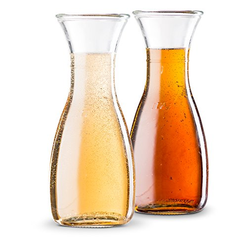 KooK Glass Wine and Water Carafe Pitcher, 1 Liter, 33oz. (Set of 2) by KooK
