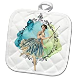 3dRose TNMPastPerfect Fantasies - Fairy and Her Wand in Front of a Mirror - 8x8 Potholder (phl_253163_1)