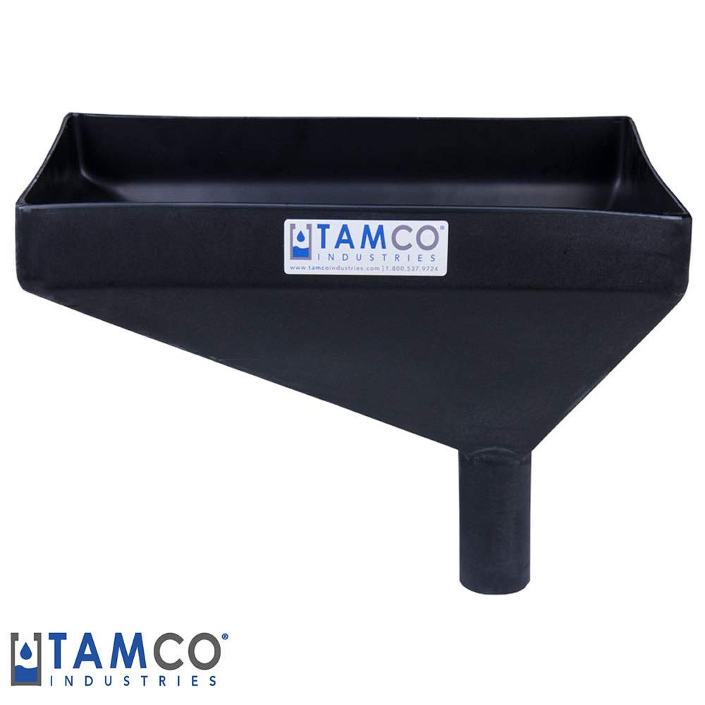 16'' x 10'' Rectangular Black Tamco Linear Low Density Plastic Funnel with 2'' OD Offset Spout (1 Funnel)