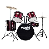 Instrumentos Musicales Best Deals - Mendini MDS80-WR Completo Tamao Completo mayor de 5 piezas de 6 capas de madera de abedul Set Vino Tinto tambor con cmbalos, Palillo y Trono
