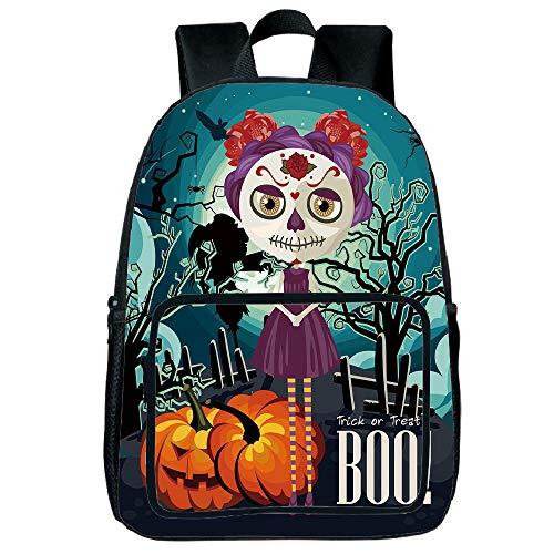 Polychromatic Optional Square Front Bag Backpack,Halloween,Cartoon Girl with Sugar Skull Makeup Retro Seasonal Artwork Swirled Trees Boo Decorative,Multicolor,for Children,Comfortable Design.15.7