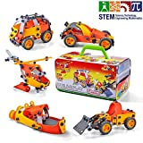 Chrivy STEM Toys Build and Play Toy Set for Boys and Girls, 5-in-1 STEM Educational Engineering and Construction Toy Building Set for 5 6 7 8 9 10 Plus Year Old Kids