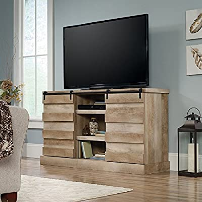Sauder Cannery Bridge Credenza TV Stand - Sliding doors with 6 adjustable shelves Lintel oak finish on engineered wood Weight capacity of 95 pounds - tv-stands, living-room-furniture, living-room - 51Wv8uJTvBL. SS400  -