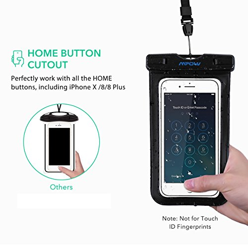 Mpow Universal Waterproof Case, IPX8 Waterproof Phone Pouch Dry Bag Compatible for iPhone Xs Max/Xs/Xr/X/8/8plus/7/7plus/6s/6/6s Plus Galaxy s9/s8/s7 Google Pixel HTC12 (Light Blue+Black 2-Pack) by Mpow (Image #2)