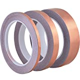 Outus Single-sided Conductive Copper Foil Tape 22 Yards for EMI Shielding, Stained Glass, Art Work, Soldering, Electrical Repairs, Grounding, 3 Pieces (6 mm, 13 mm, 25 mm)