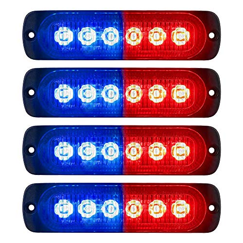 PESIC 4x Red/Blue LED Side Strobe Warning Emergency Caution Construction Car Truck Van Light Bar