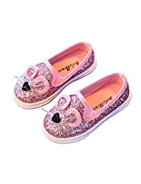 LANXI Girls Cartoon Cat Loafers Bling Sequins Casual Sneakers Shoes