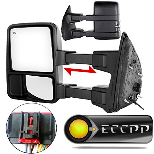ECCPP Towing Mirrors For 2008-2016 Ford F250 F350 F450 F550 Super Duty Side View Mirror Pair Set Power Heated w/LED Smoke Turn Signal Pickup Mirrors