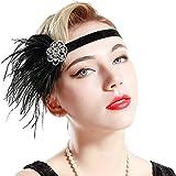 BABEYOND 1920s Flapper Headband Great Gatsby Headpiece 20s Art Deco Headband Ostrich Feather Headdress Vintage 1920s Flapper Gatsby Accessories (Black)
